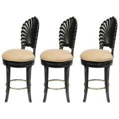 Three Black Lacquered Italian Venetian Grotto Shell Back Swivel Bar Stools