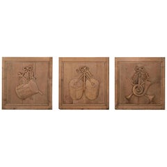 Three Bleached Oak Carved Wooden Panels