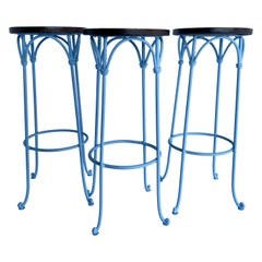 Three Blue Barstools with Leather Seats, Legs Powder Coated