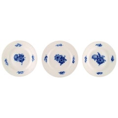 Three Blue Flower Braided Cake Plates from Royal Copenhagen, Number 10/8092
