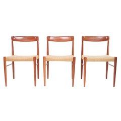 Three Bramin Papercord Mid Century Teak Dining Chairs