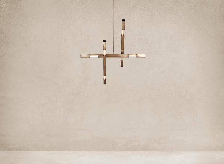 Modern Large Three Branch Dynamic Stilk Chandelier  For Sale