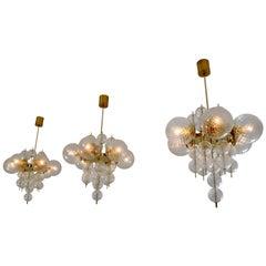 Three Brass Chandeliers Produced by Fa. Preciosa in Kamenicky Senov, 1970s