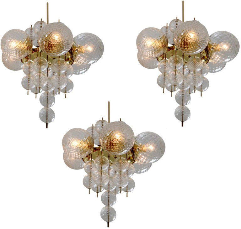 Three Brass Midcentury Chandeliers Produced by Fa. Preciosa , 1960s For Sale