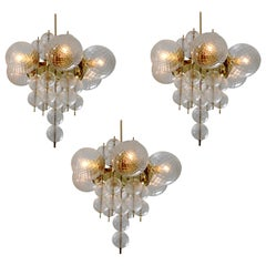Three Brass Midcentury Chandeliers Produced by Fa. Preciosa, 1960s