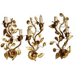 Three Brass Wall Lights
