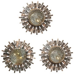 Three Brutalist Sunburst Sconces / Flush Mounts
