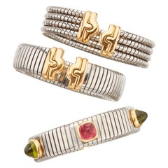 Three Bulgari Steel Gold Tubogas Bracelets