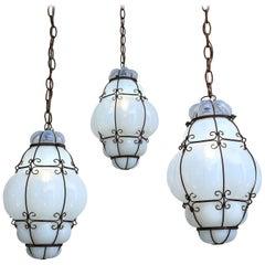 Three Caged Glass Italian Pendants