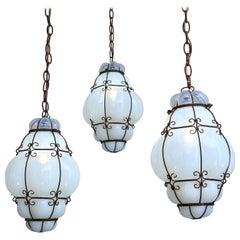 Three Caged White Glass Italian Pendants