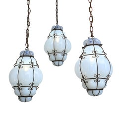 Three Caged White Glass Italian Pendants