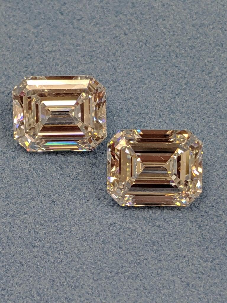 Art Deco Three Carat Each Emerald Cut Diamonds F VVS2 GIA for Earrings For Sale
