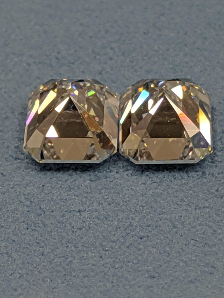 Three Carat Each Emerald Cut Diamonds F VVS2 GIA for Earrings In New Condition For Sale In New York, NY