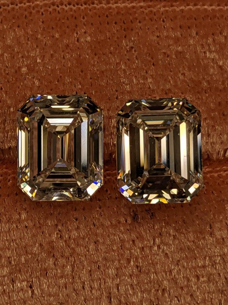 Women's or Men's Three Carat Each Emerald Cut Diamonds F VVS2 GIA for Earrings For Sale