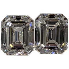 Three Carat Each Emerald Cut Diamonds F VVS2 GIA for Earrings