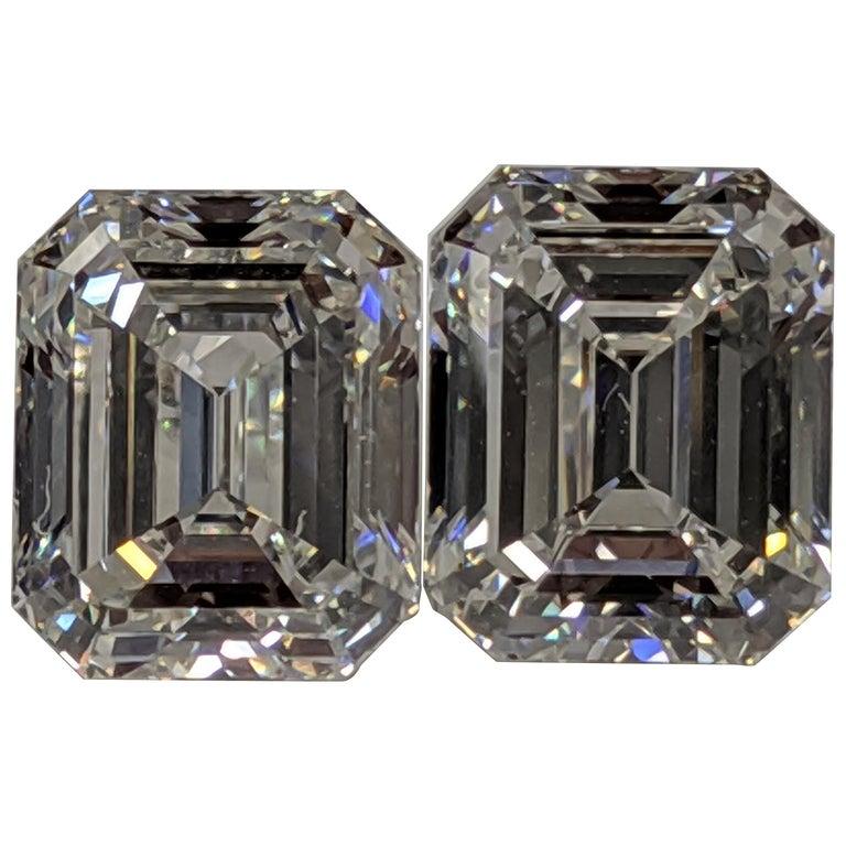 Three Carat Each Emerald Cut Diamonds F VVS2 GIA for Earrings For Sale