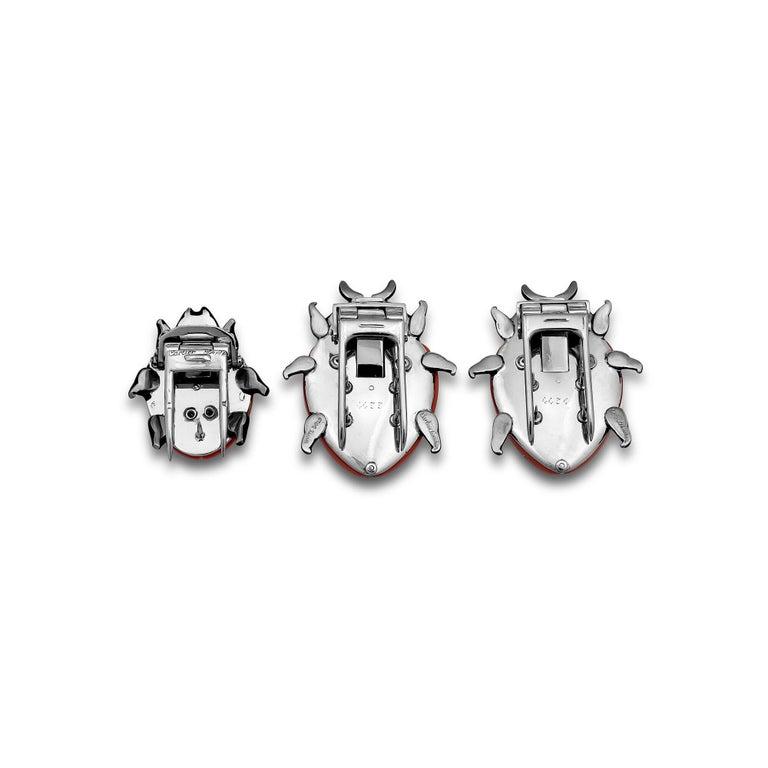 Round Cut Three Cartier London and Paris Diamond Coral Enamel Platinum Ladybug Brooches For Sale