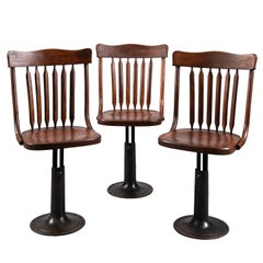 Three Cast Iron and Wood Adjustable Height Chairs, circa 1895