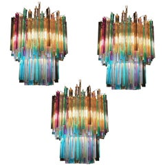 Three Chandeliers Multi-Color Triedri, 107 Prism, Murano, 1970s