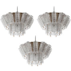 Three Chandeliers Pendant Lights by Austrolux, Chrome Glass, Austria, 1970