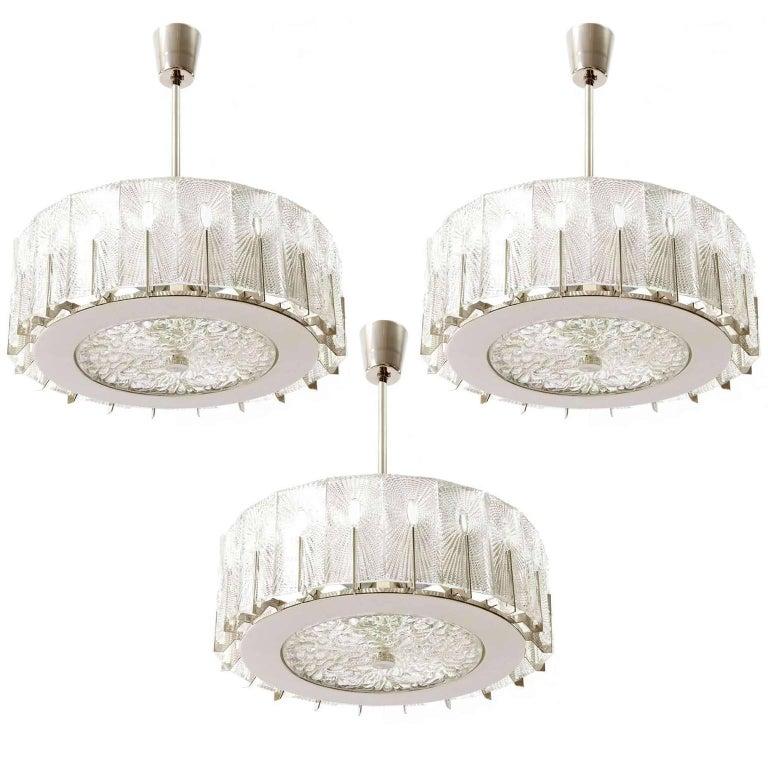 Three Chandeliers Pendant Lights by Rupert Nikoll, Glass Nickel, 1960 2
