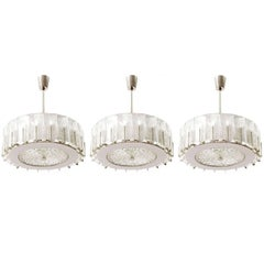 Three Chandeliers Pendant Lights by Rupert Nikoll, Glass Nickel, 1960