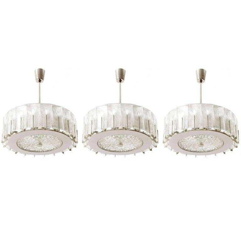 Three Chandeliers Pendant Lights by Rupert Nikoll, Glass Nickel, 1960 1