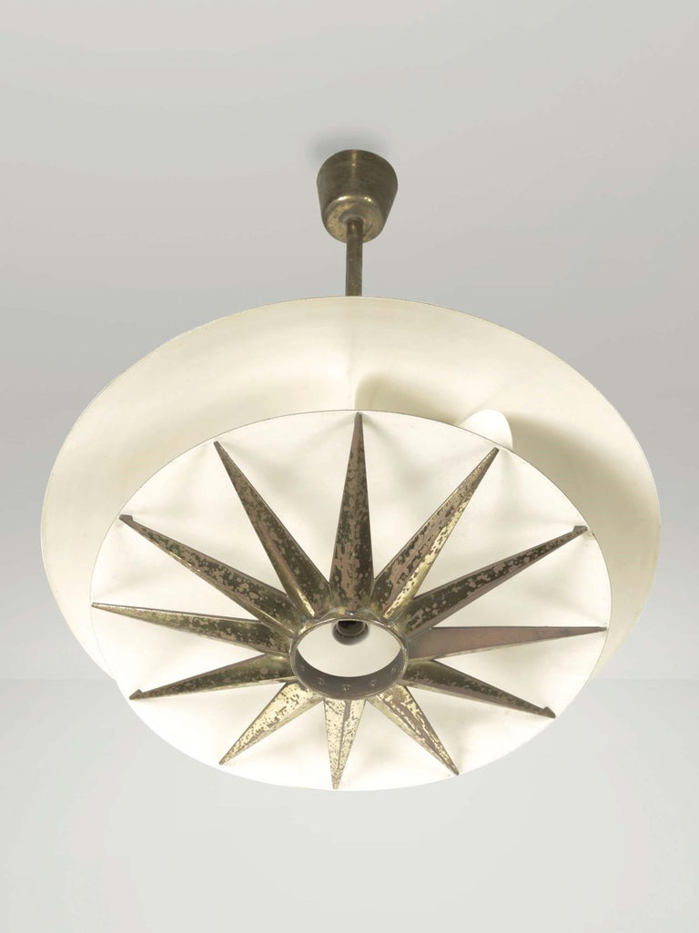 Italian Three Chandeliers with Brass and Metal Structure, Tommaso Buzzi by Donzelli For Sale