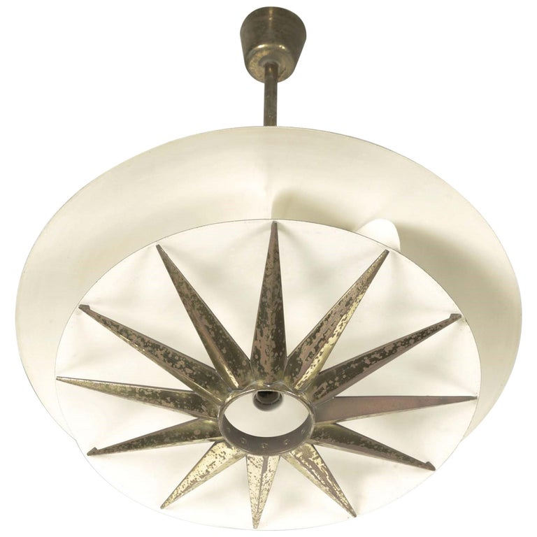 Three Chandeliers with Brass and Metal Structure, Tommaso Buzzi by Donzelli For Sale