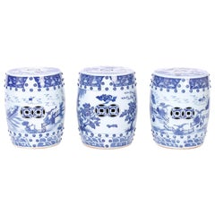 Three Chinese Blue and White Porcelain Garden Seats, Priced Individually
