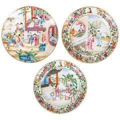 Three Chinese Export Rose Mandarin Cabinet Plates, Late 18th Century