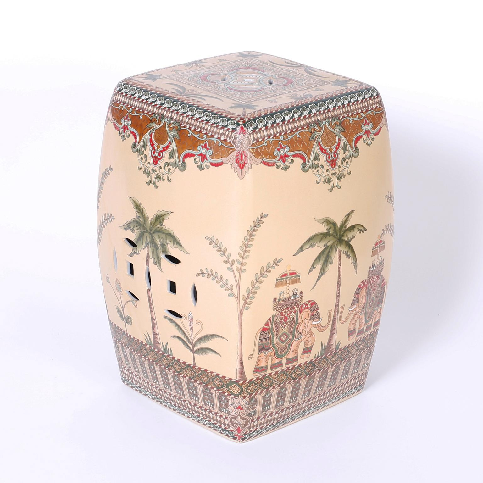 Magnificent Three Chinese Garden Seats With Elephants And Palm Trees At Ncnpc Chair Design For Home Ncnpcorg
