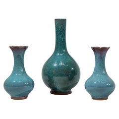 Three Chinese Turquoise Glazed Vases
