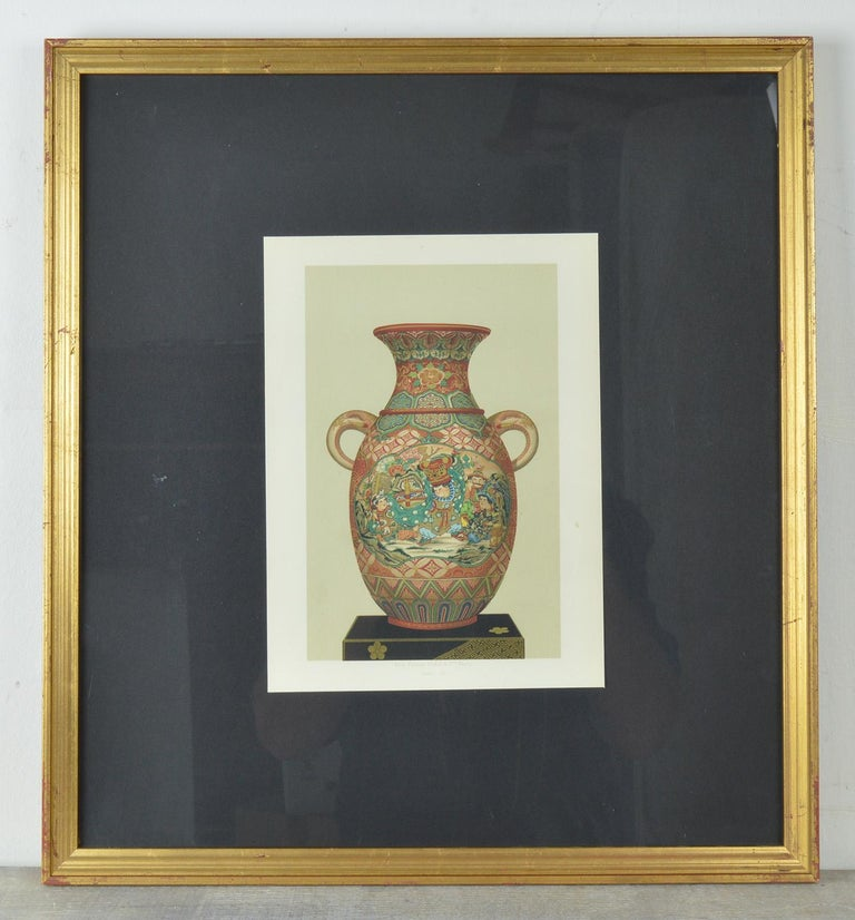 Three amazing chromolithographs of Japanese vases.  Published by Firmin Didot, Paris. circa 1870  Superb colors and detail.  I particularly like the gilt highlights.  Mounted on black card and presented in new gilt frames.  The measurement