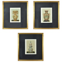 Three Chromolithographs of Japanese Vases by Firmin Didot, Paris