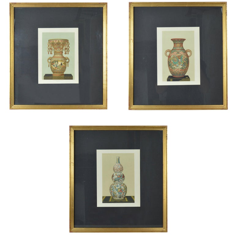 Three Chromolithographs of Japanese Vases by Firmin Didot, Paris For Sale
