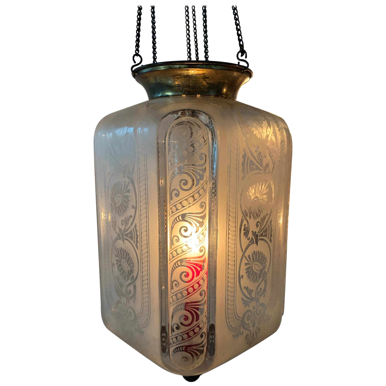 Four Clear Glass Art Nouveau Candle Lanterns by Baccarat France, circa 1890