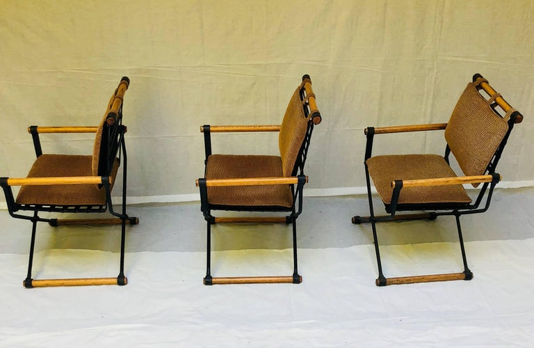 Mid-Century Modern Three Cleo Baldon Wrought Iron Campaign Armchairs for Terra, circa 1965  For Sale