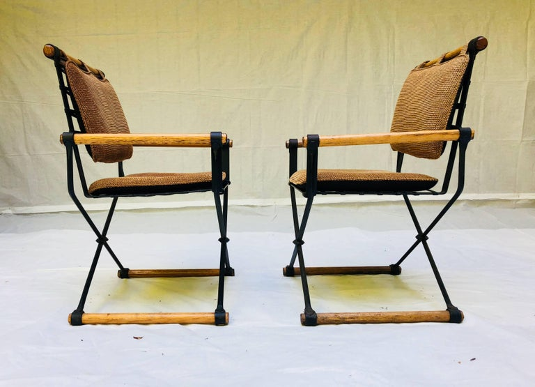 American Three Cleo Baldon Wrought Iron Campaign Armchairs for Terra, circa 1965  For Sale