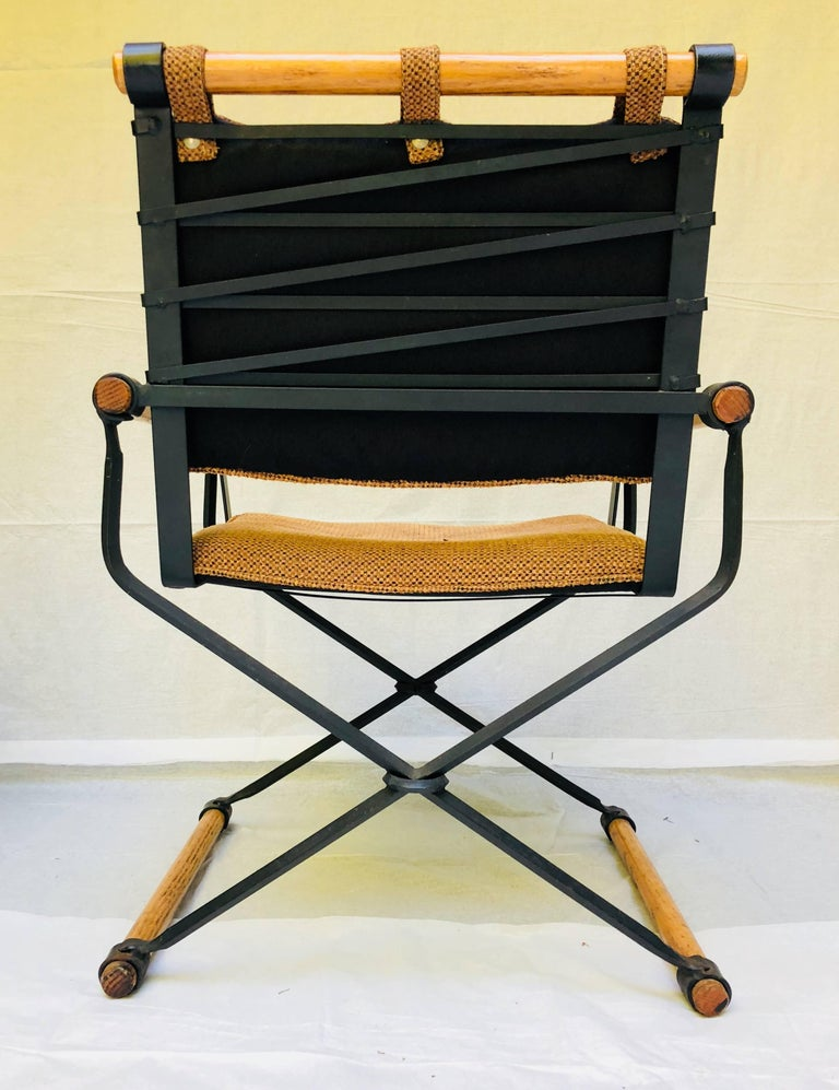 Hand-Crafted Three Cleo Baldon Wrought Iron Campaign Armchairs for Terra, circa 1965  For Sale