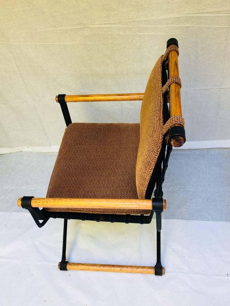 Three Cleo Baldon Wrought Iron Campaign Armchairs for Terra, circa 1965  In Excellent Condition For Sale In Camden, ME
