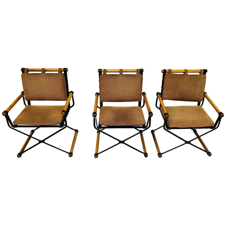 Three Cleo Baldon Wrought Iron Campaign Armchairs For Terra Circa