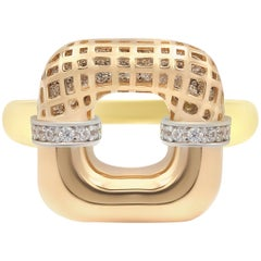 Three Color of Gold Statement Ring for Her Made in Italy