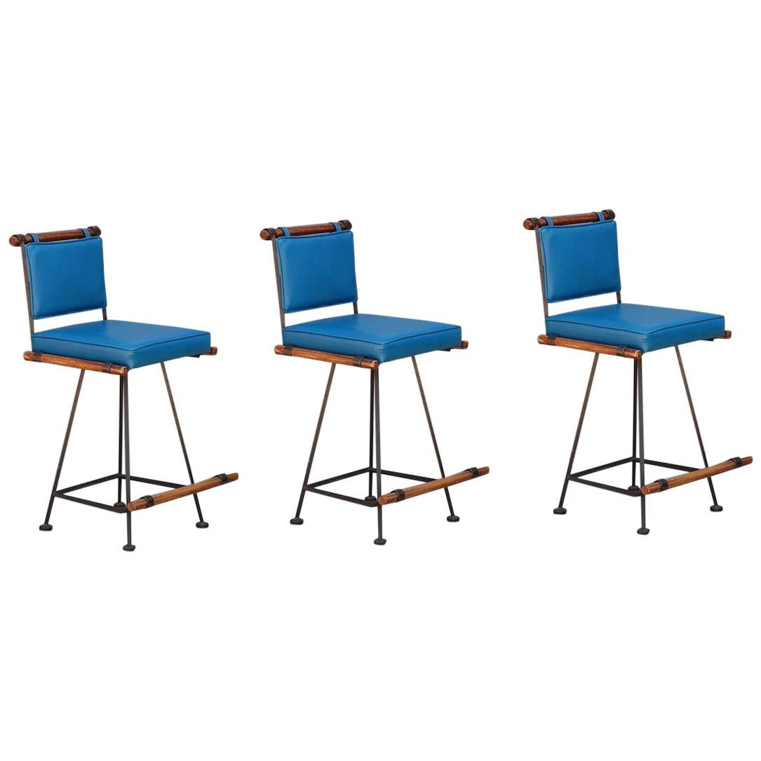 Three Comfortable 'Los Feliz' Wrought Iron and Oak Swiveling Counter Stools