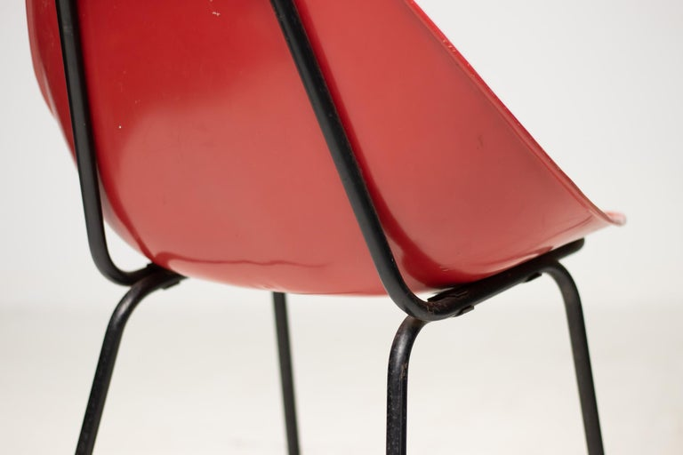 Enameled Three Coquillage Chairs by Pierre Guariche For Sale