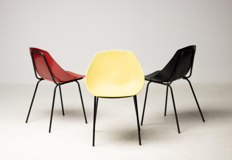 Three Coquillage Chairs by Pierre Guariche In Good Condition For Sale In Dronten, NL