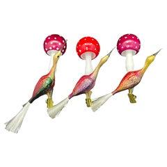 Three Crane Bird and Mushroom Christmas Tree Clip-On Ornaments Vintage German