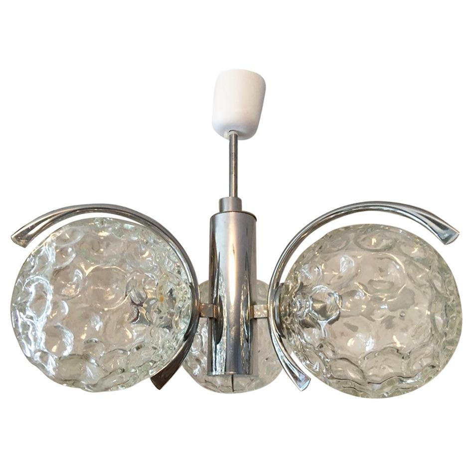 Three Crater Glass Ball and Chrome Chandelier