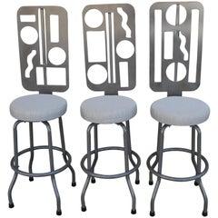 Three Custom Futuristic Swivel Bar Stools