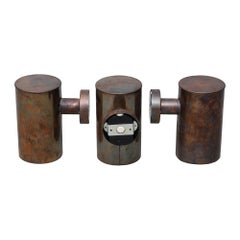 Three Cylindrical Outdoor Scandinavian Modern Copper Wall Lights by Fagerhults